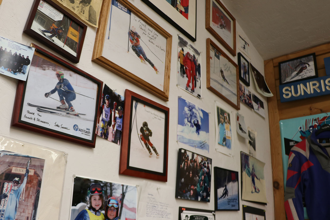 Awards and various signed photos of current and past alpine racers